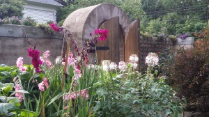 Garden gate, flowers